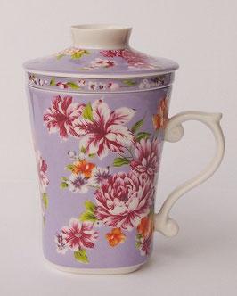 茶漉し付きマグカップ300mlタイプ 牡丹の花  紫色 584