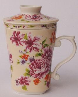 茶漉し付きマグカップ300mlタイプ 牡丹の花  クリーム色 568