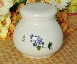 陶磁器製茶筒 4点シリーズ 【紫の菊花】 582