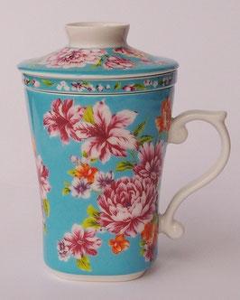 茶漉し付きマグカップ300mlタイプ 牡丹の花  水色 567