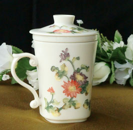 茶漉し付マグカップ300mlタイプ 高級 手彫り風手描き菊柄 585