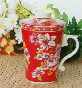 茶漉し付きマグカップ300mlタイプ 牡丹の花  紅 464