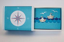 Schiffchenohrstecker mit silbernen Wimpeln