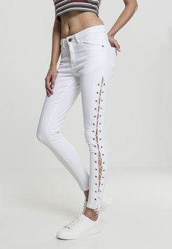 Ladies Denim Lace Up Skinny Pants