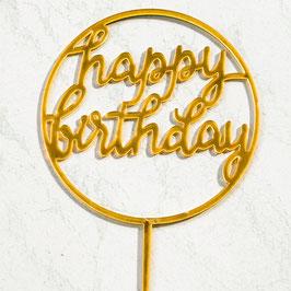 Caketopper Happy Birthday rund