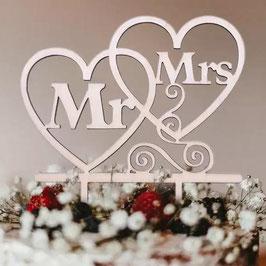 """Caketopper Mr.&Mrs """"Heart"""""""
