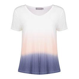 GEISHA T-Shirt (12062-21/ 000000 white-salmon-blue)