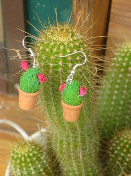 Kakteen-Ohrringe rote Blüten