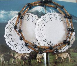 Braun/weiße Keramikkette aus Afrika-Perlen