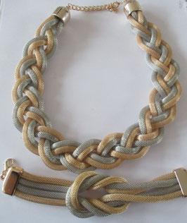 Günstiges Set: Schlauch-Kette und Armband Silber-Gold