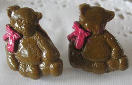 Bären-Ohrstecker dunkelbraun