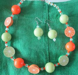 Orangen-Limetten-Kette mit Ohrringen