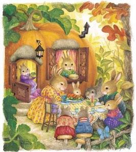 """Osterpostkarte """"Hasenfamilie bei Tisch"""""""