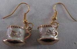 Tassen-Ohrringe weiß/gold