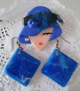 Glas-Brosche blau + Ohrringe