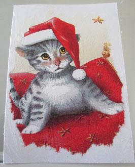Weihnachtskarte Kätzchen mit Zipfelmütze