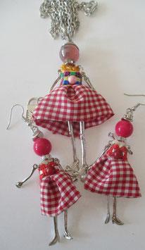 Valentina Kette + Ohrringe rot/weiß