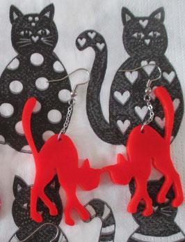 Rote Katzen-Ohrringe