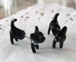 Schwarze Katzen-Ohrstecker