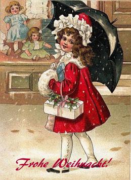 """Mädchen im roten Kleid """"Frohe Weihnacht!"""