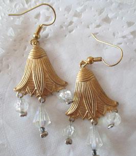 Vintage-Glockenblumen-Ohrringe kristall