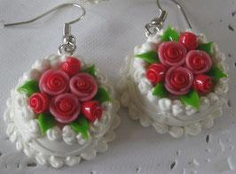 Obers-Torten-Ohrringe mit Röschen