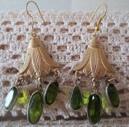 Vintage-Glockenblumen-Ohrringe mit Turmalinen