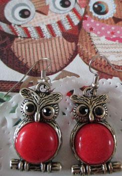 Eulen-Ohrringe mit großer roter Perle