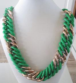 Gliederkette grün-goldfarben