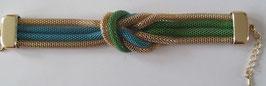 Schlauch-Armband Gold - Blau/Grün