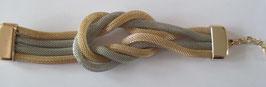 Schlauch-Armband Silbergrau-Gold