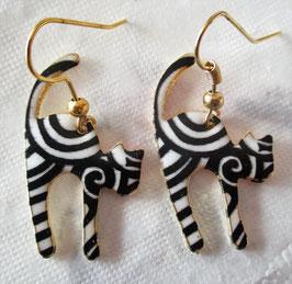 Katzen-Ohrringe Schwarz-Weiß