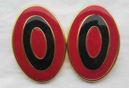 Dekorative ovale Ohrstecker Rot/Schwarz/Gold