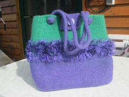Filztasche mit Fransen in Grün-Violett
