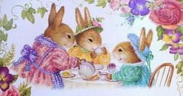 "Osterpostkarte ""Hasenfamilie"""