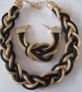 Günstiges Set: Schlauch-Kette und Armband in Schwarz-Gold