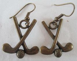 Bronzefarbene Golfschläger-Ohrringe