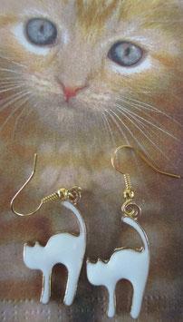 Katzen-Ohrringe Weiß