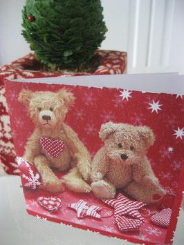 Weihnachtskarte mit Teddys