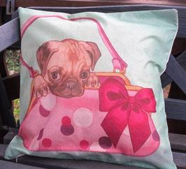 Kissenüberzug Hund in Tasche