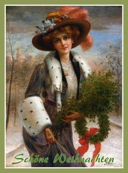 Weihnachtskarte Dame mit Kranz