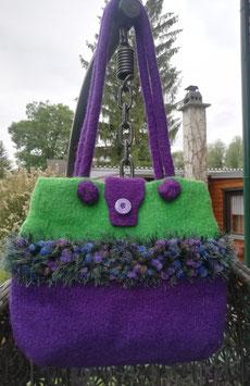 Filztasche in Grün-Violett VERKAUFT