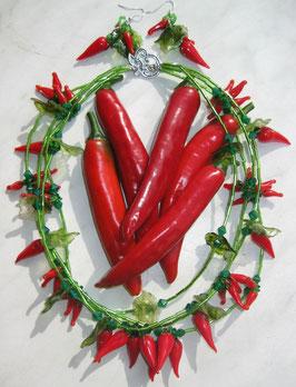 Chili-Kette mit Ohrringen
