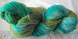 Wolle in Türkis/Grün mit Glitzer