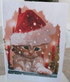 Weihnachts-Karte Katze mit Weihnachtsmütze