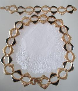 Set: Kette und Armband goldfarben-schwarz