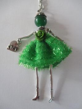 Valentina-Kette mit grünem Glitzerkleid samt Blüte