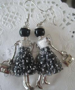 Valentina-Ohrringe schwarz/weiß