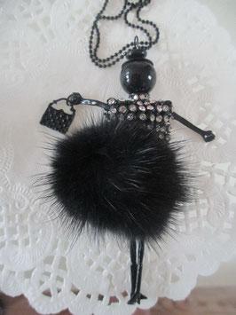 Schwarze Valentina-Kette mit Fell-Röckchen