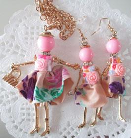 Valentina-Kette + Ohrringe rosa